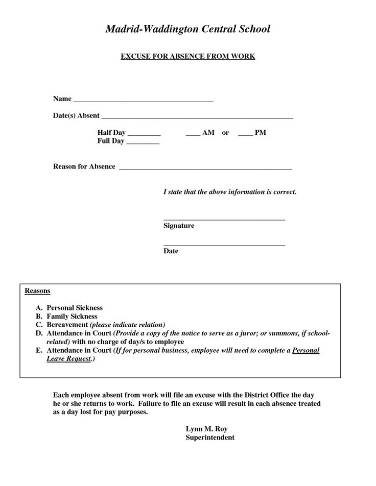 Doctors excuse for work template excuse for absence from for School absence note template free