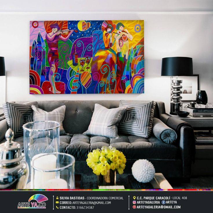 La técnica pop art abstracto resalta las decoraciones sobrias y con colores uniformes de tu hogar. #ArteYa Obra: Melodía Autor: Peña Medidas: 160 cm x 90 cm