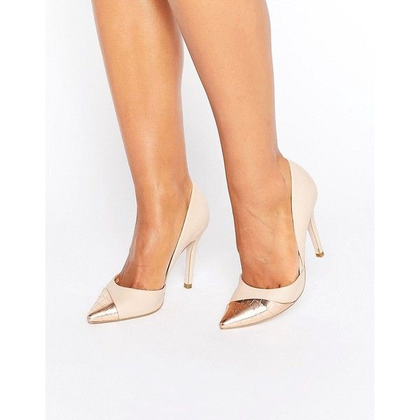Miss KG Caitlyn Contrast Court Shoes ($88) ❤ liked on Polyvore featuring shoes, pumps, beige, beige pointy toe pumps, beige pointed toe pumps, pointy high heel pumps, pointed-toe pumps and high heel shoes