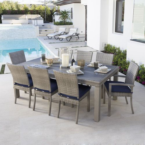 Beachcrest Home Highland Park 9 Piece Dining Set with Cushions