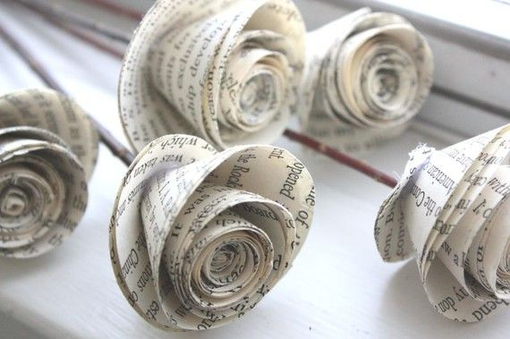Paper roses from recycled books.