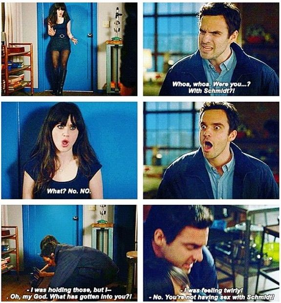 Nick trying to save Jess from Schmidt. New girl.