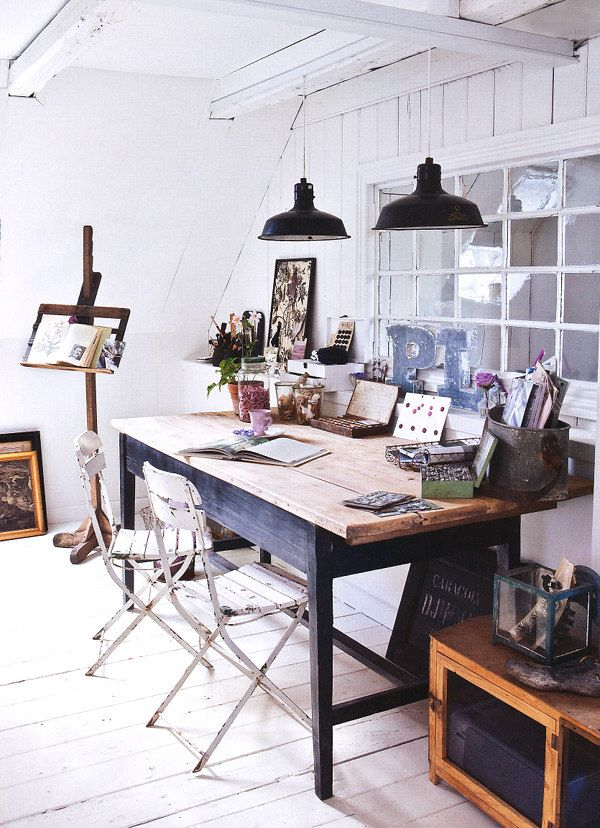 LOVE everything about this office spac... the industrial lighting, wooden desk,easel... I could go on! #homeoffice #lovethis #workspace #workspaceideas #workfromhome #RSGloves