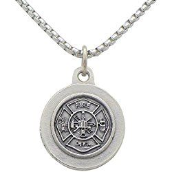 "St Florian Pendant Necklace ""Patron Saint of Firefighters"" Fire Fighters gift"