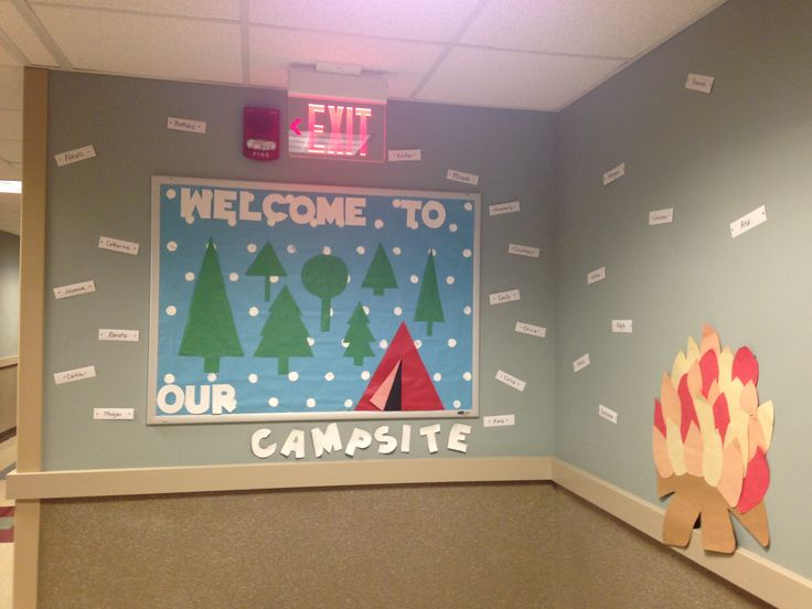 Camping theme hallway, the door decs were little tents, smores, and campfires…