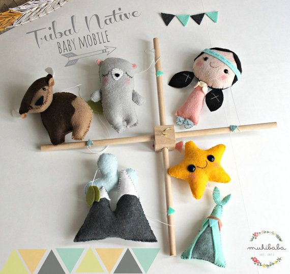 Native American Baby Mobile - Native Tribal Crib mobile, Mountains, Indian Girl, Native American Girl, Buffalo, Grey Bear, Felt Teepee