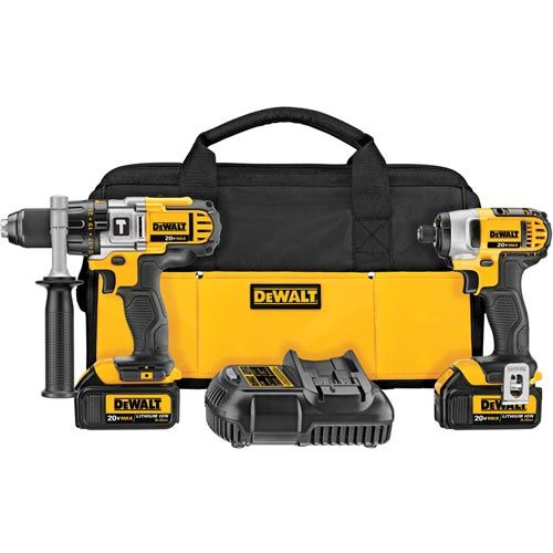 DEWALT DCK290L2 20-Volt Max kit includes a hammer drill and an impact driver as well as battery charger.