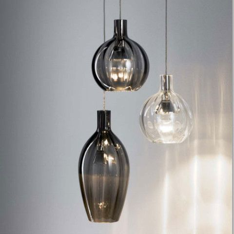 German Hand-Blown Crystal Glass Pendant Light
