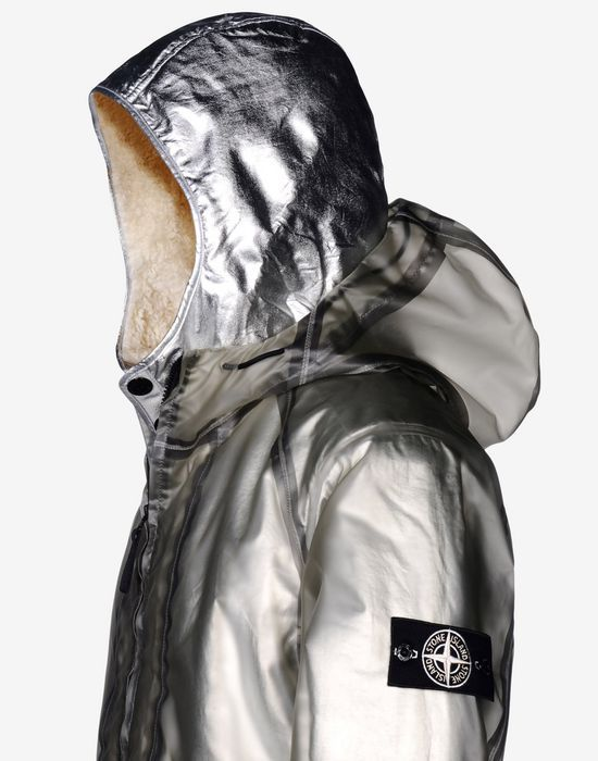 491Y1 POLY COVER COMPOSITE + INTERNO STACCABILE IN POLY FUR ARGENTO Giaccone Stone Island Uomo - Stone Island Online Store Ufficiale