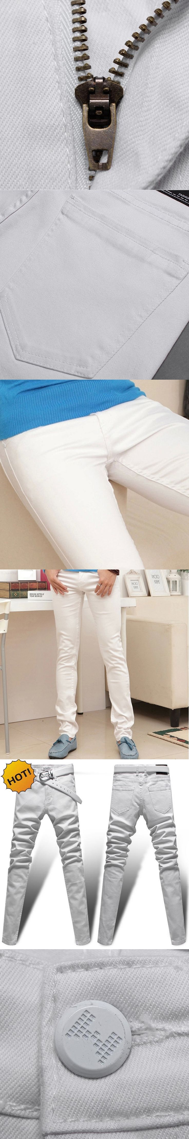 High Quality Fashion White Jeans Men Slim Fit Stretch Denim Leg Hip Hop Skinny Jeans Men Teenagers Boy Bottoms 28-35