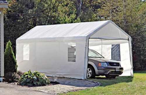 10x20 foot Instant Garage / Shelter White >  GARAGE SALE: Waterproof 10x20' Instant Garage / Shelter has roll-up door and windows. Protection, PRICED LESS! Introducing ShelterLogic all-season, all-weather portable Shelter. Goes up in a... Check more at http://farmgardensuperstore.com/product/10x20-foot-instant-garage-shelter-white/
