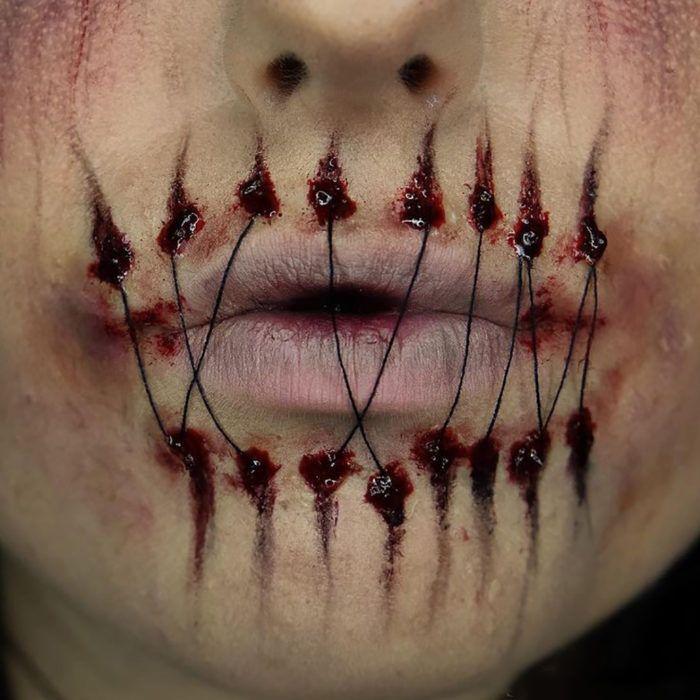 maquillaje labios cosidos