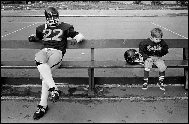 USA. Boston, Massachusetts. 1974. Team mascot and player, English High School. Constantine Manos/Magnum Photos