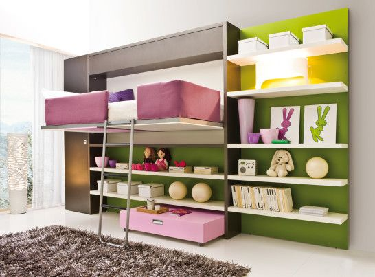 teen bedroom with Cool Murphy Bed Idea taking ladder and floating pink and white bedding set closed by lime base and some white floating boards