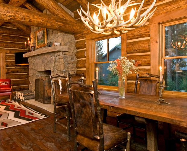 17 best images about beautiful log cabin dining rooms on Log homes interiors