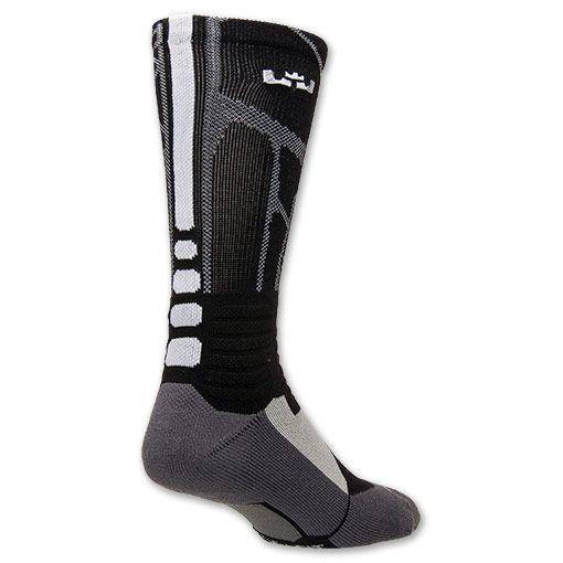 Men's Nike LeBron Hyper Elite Basketball Crew Socks - Large | Finish Line | Black/White