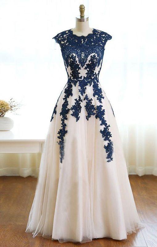 lace applique prom dress, long prom dress, A-line prom dress, tulle evening dress, A-line prom dress, BD414