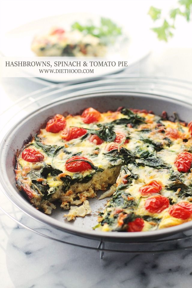 Hashbrowns, Spinach and Tomato Pie Forget Ore Ida...I'll make my own hash browns and then this sounds pretty good.