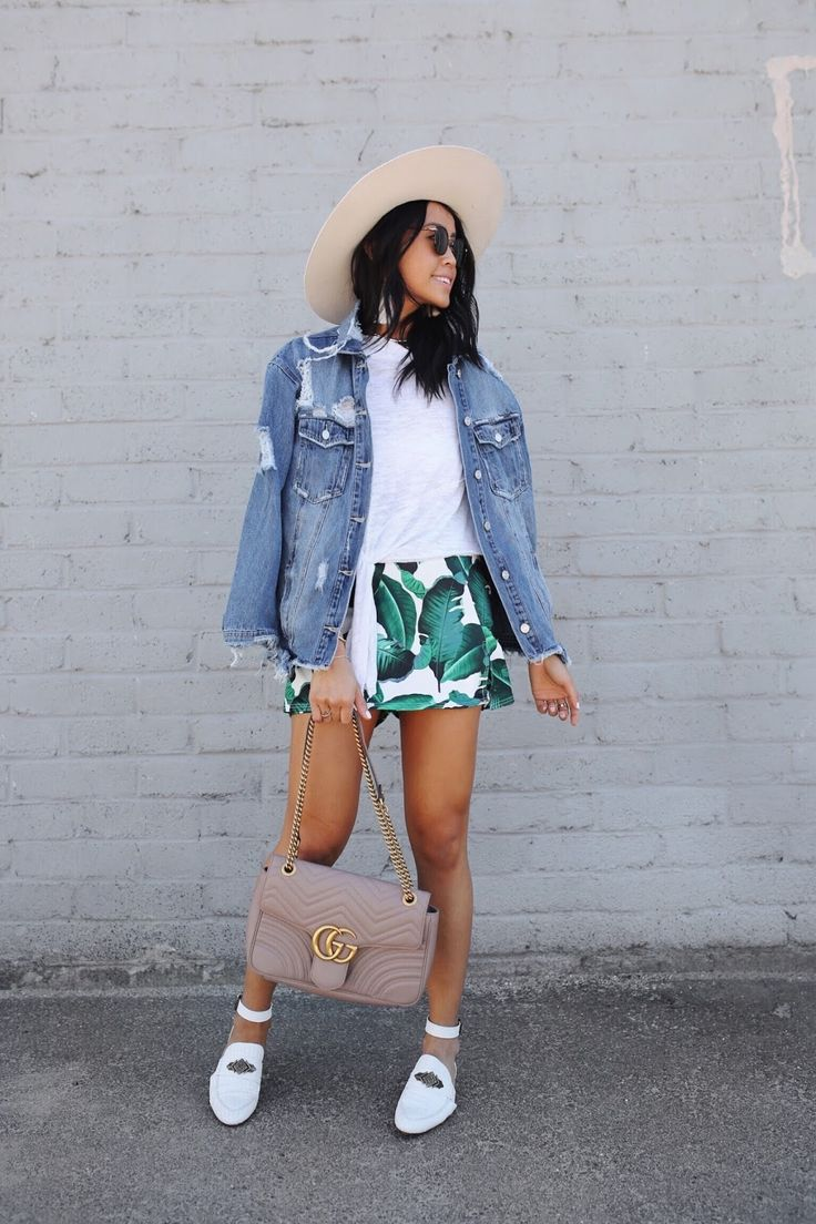 Summer Style Palm Print Gucci Denim Jacket