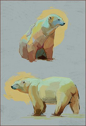 Came across this nice illustration of some Polar Bears, couldn't figure out the artist.