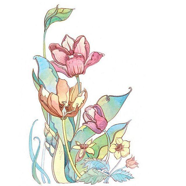 Вы не поверите, но это с натуры))). Коричневый контур. Заправила свою чудо- ручку золотое перо коричневой водостойкой тушью! #акварель #цветы #ботаника #ботаническийсад #аптекарскийогород #тюльпаны #ink#inkpen #platinumpen