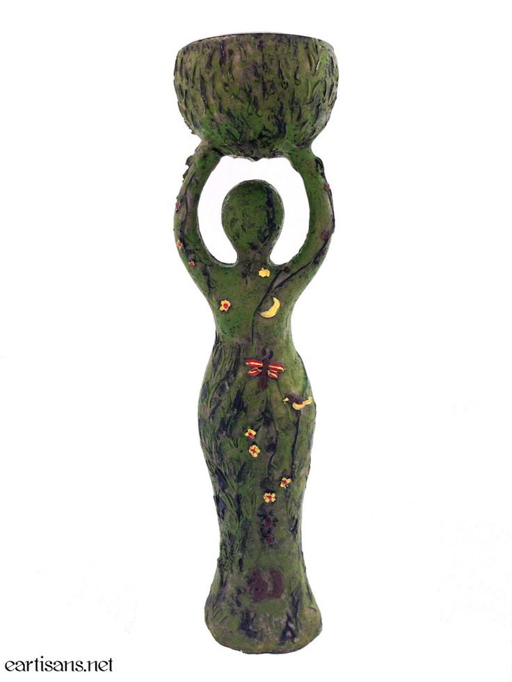 """Our Earth Goddess statuary is not only beautifully detailed but doubles as a tea light candle holder! The front of the earth goddess statuary depicts an """"earthy"""" nature scene with grass as her base, l"""