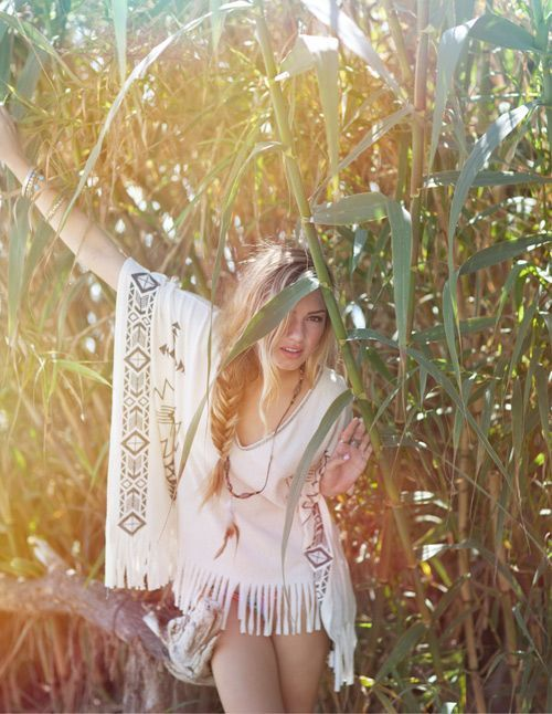 native summer sun bohemian fashion style tunic fringe nature blonde ...