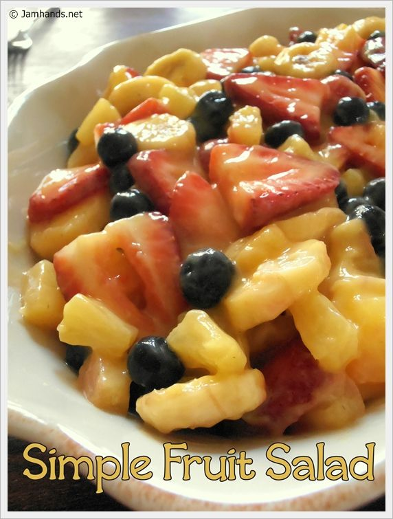 Simple Summer Fruit Salad ~    You Need:  >1 (5.1 oz) pkg vanilla instant pudding  >1 (20 oz) can pineapple tidbits with juice  >1 lb. fresh strawberries, quartered  >1 C fresh blueberries (optional, mini-marshmallows would be a yummy substitution-or addition!)  >3 bananas, sliced    Directions @:  http://www.jamhands.net/2012/05/simple-summer-fruit-salad.html