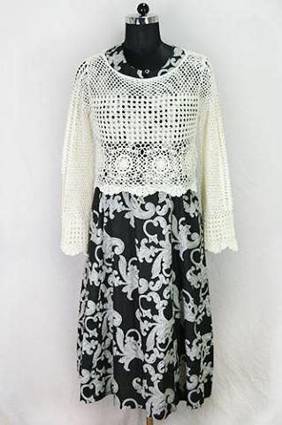 Designer Exclusive Paisley Maxi Dress with Crochet Jacket at best price at our website www.Harmeendesign.com