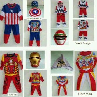 setelan anak superhero + topeng @ 150.000