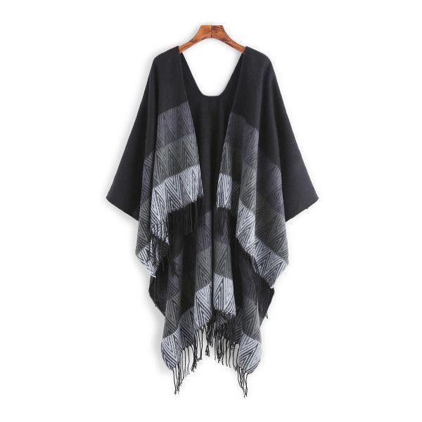 SheIn(sheinside) Black Ombre Stripe Fringe Edge Poncho Scarf (235 SEK) ❤ liked on Polyvore featuring accessories, scarves, black, ombre scarves, striped shawl and striped scarves