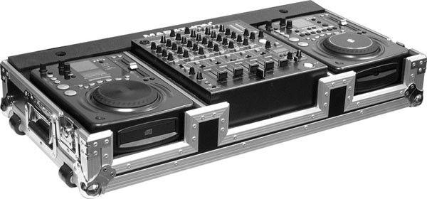 Coffin Holds 2 x MEDIUM Format CD Players: American Audio Radius, CDI-300, 500, Pioneer CDJ-400, CDJ-200 plus 12-in mixer w/low profile wheels