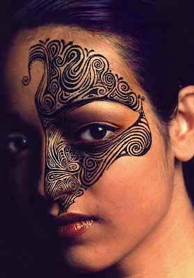 Maori woman with face tattoo