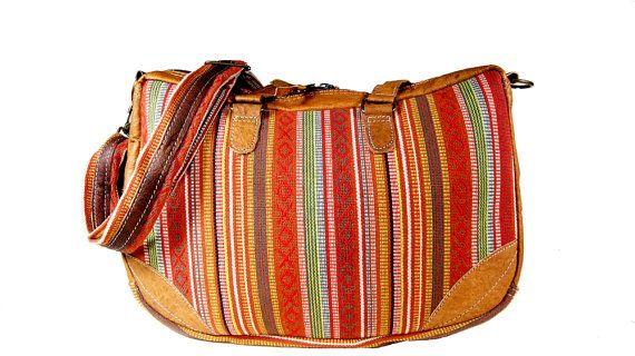 Pittoresco bohémien borsa in pelle - cotone biologico - handmade & eco-friendly - AMA