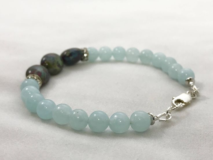 Excited to share the latest addition to my #etsy shop: Bloodstone and aquamarine bracelet, heliotrop and aquamarine bracelet, sterling silver, spiritual bracelet #jewelry #bracelet #spiritualbracelet #boho