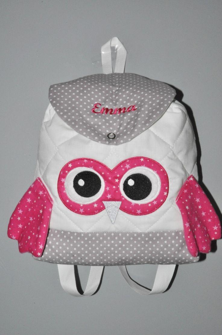 Sac a dos chouette rose enfant personnalisé brodé pour crèche maternelle balade école sport danse maternelle : Sacs enfants par lbm-creation