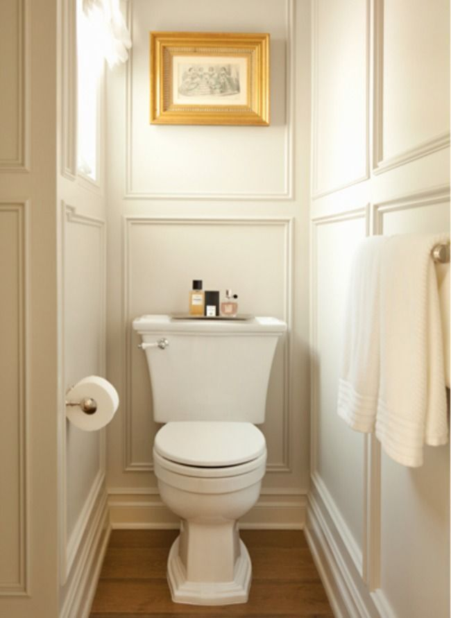 """Turning the WC in """"a moment"""" can be tricky, but this simply crown molding accomplishes just that."""