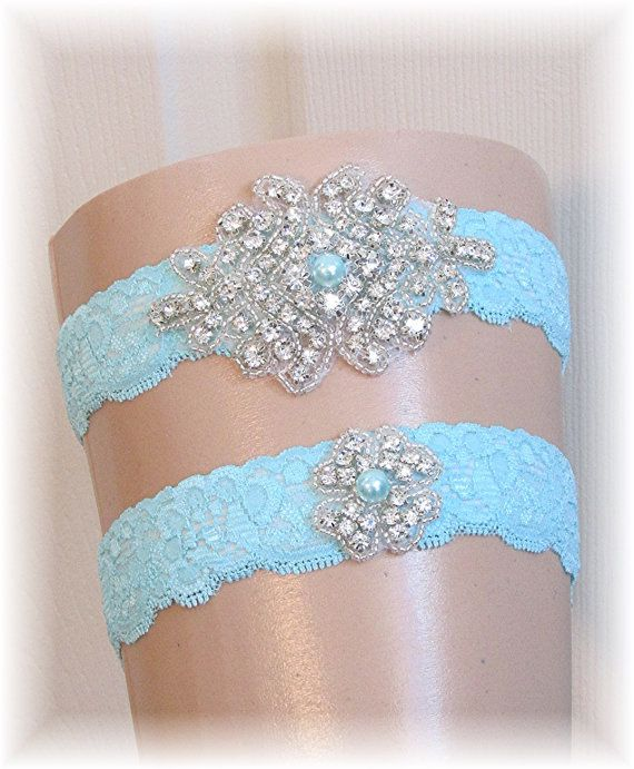 Pool Blue Tiffany Blue Wedding Garter Set Bridal by SimplyWeddings, $27.95