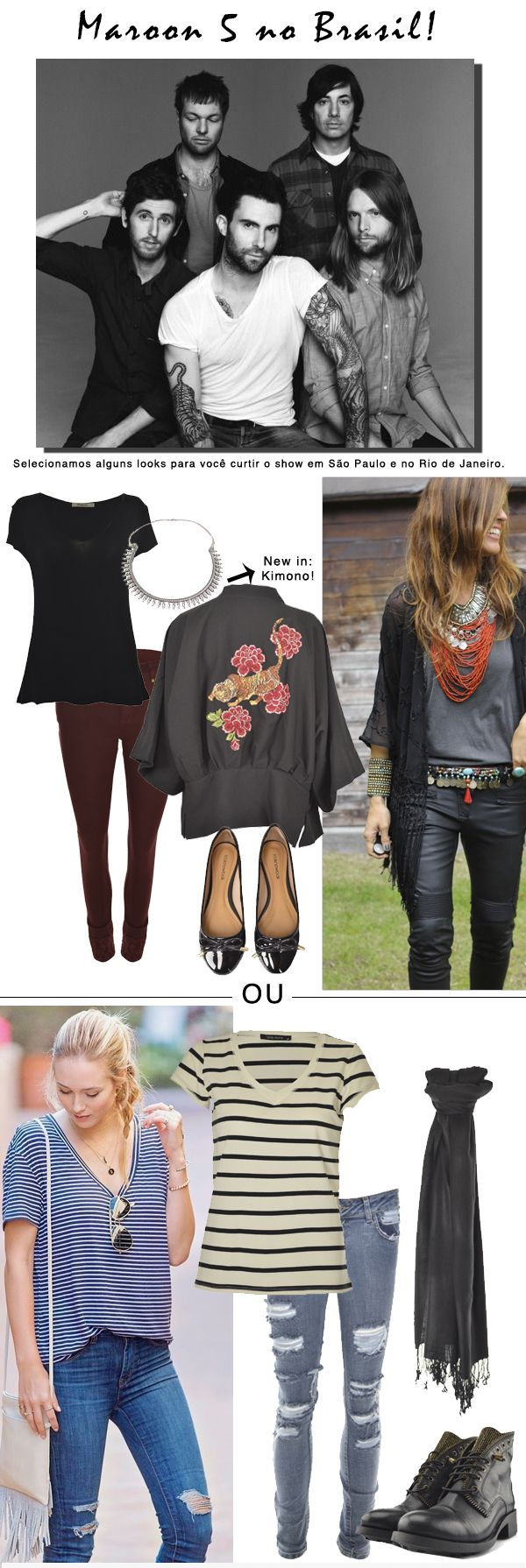 Get the Look: Shows. | Looks para shows. | Maroon 5 no Brasil. #moda #look #outfit #show #inspiração #lnl #looknowlook