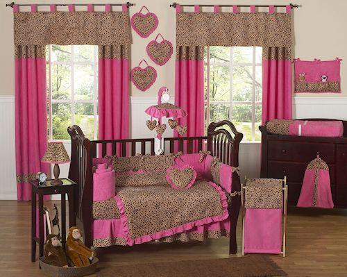 Pink Animal Print Baby Bedding - 9pc Cheetah Girl Nursery Crib Set Collection