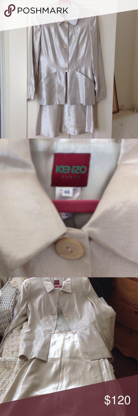 Kenzo linen acetate suit, Paris Designer suit linen acetate fabric, skirt is knee length. Almost new! Kenzo Dresses Long Sleeve
