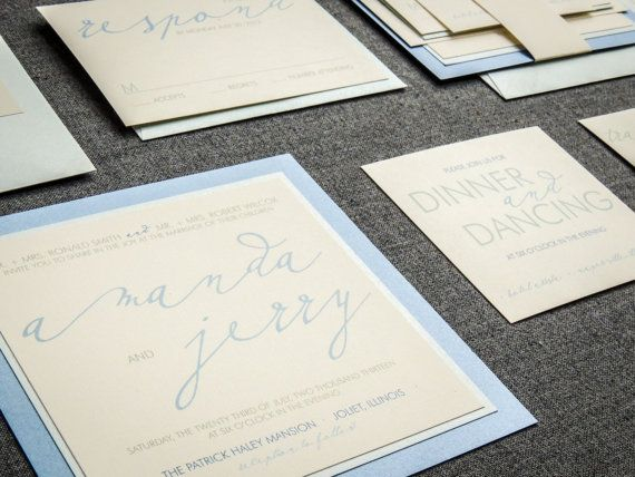 Champagne and Blue Wedding Invitations, Beach Invitations, Square Invitations, Modern Calligraphy Design by Julie Hanan Design #etsy #weddinginvitations