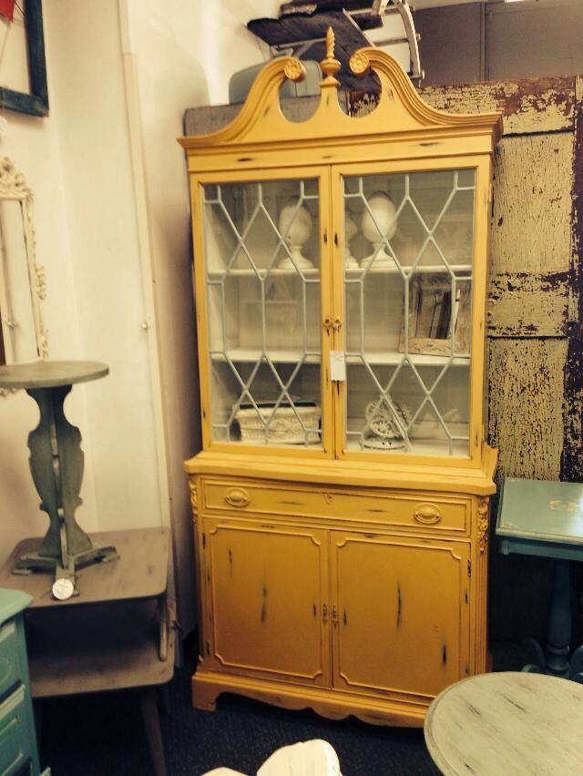 Vintage Yellow China Cabinet