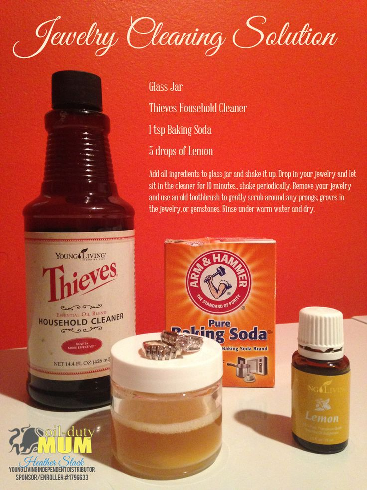 DIY Jewelry Cleaner using Young Living Essential Oils and Thieves Household Cleaner.