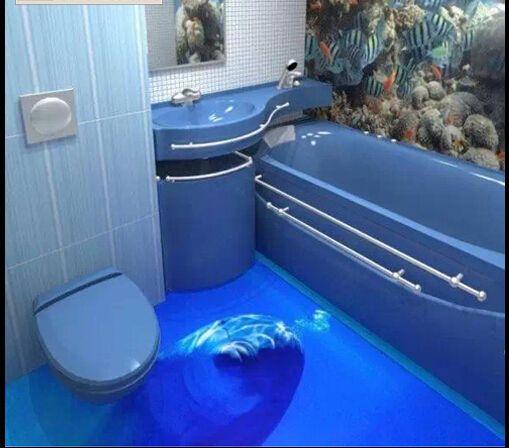 3d denizaltı tuğla banyo karoları duvar boyama holü salon su geçirmez(China (Mainland))