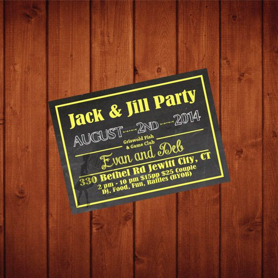 Jack And Jill Couples Wedding Shower Invitation