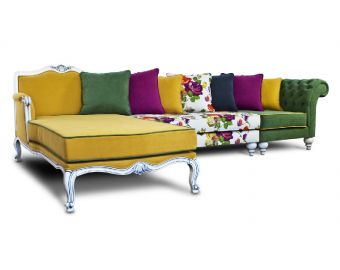 PALERMO HANDCARVED YELLOW AND FLORAL CORNER SOFA