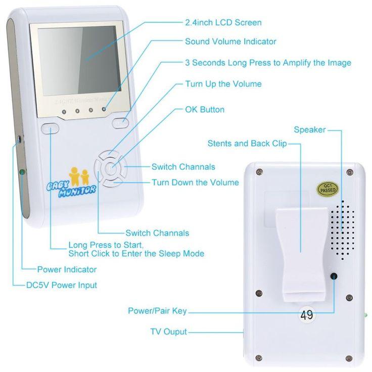 "2.4"" LCD 2.4GHz Wireless Digital Baby Monitor w/ 9-IR LED (EU Plugs) - Free Shipping - DealExtreme"