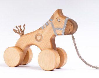 Pull Dog Kids Wooden Toy Dog Green Dog Toy Wood by FriendlyToys
