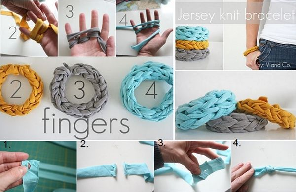 The Perfect DIY Finger Knitted Bracelet From Jersey T-shirt - http://theperfectdiy.com/the-perfect-diy-finger-knitted-bracelet-from-jersey-t-shirt/ #DIY